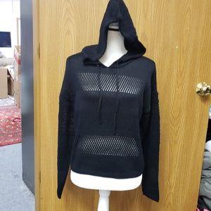Juniors' Knit Mesh Cropped Hoodie
